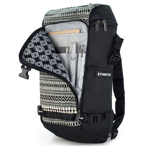 Ethnotek-premji-travel-daypack-india8-black-and-white-organizer-pocket