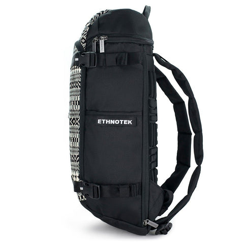 Ethnotek-premji-travel-daypack-india8-black-and-white-recycled-fabric