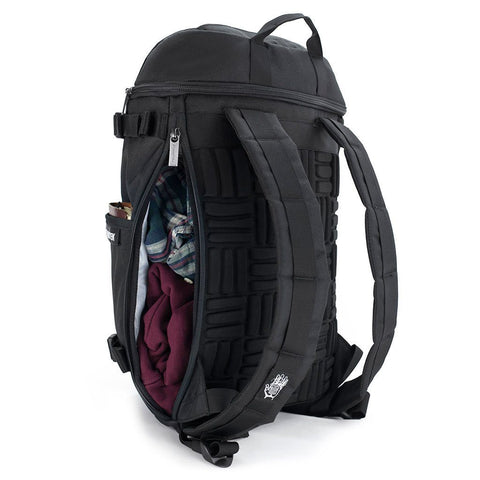 Ethnotek-premji-travel-daypack-india8-black-and-white-side-access-pocket