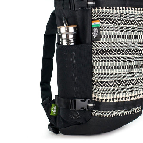 Ethnotek-premji-travel-daypack-india8-black-and-white-water-bottle-pocket