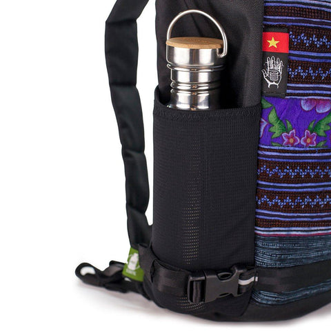 Ethnotek-premji-travel-daypack-vietnam5-navy-blue-water-bottle-pocket