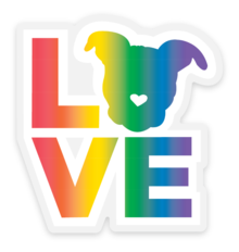 Pit Bull Love Rainbow Sticker - Small | The Gentle Pit