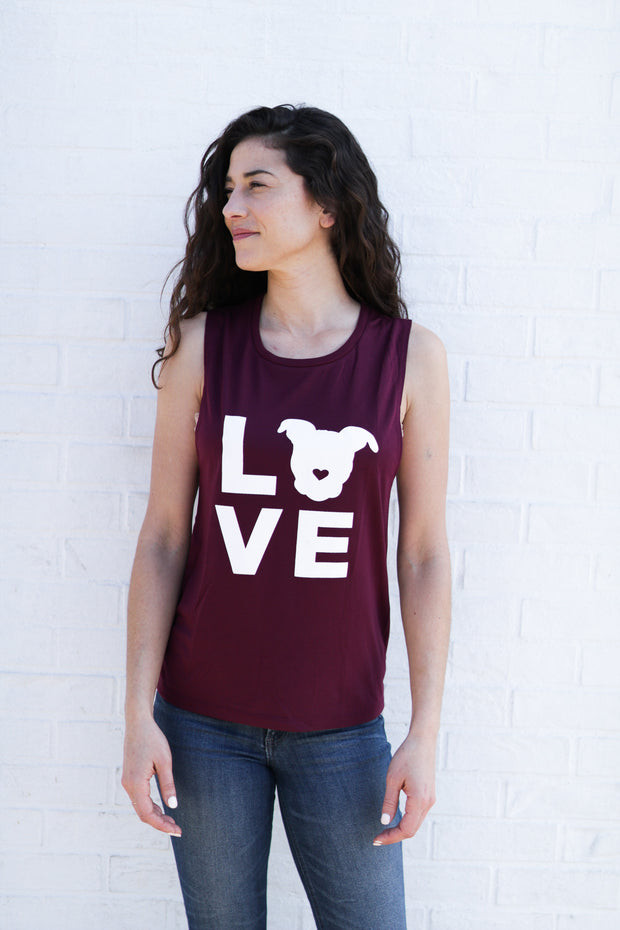 LOVE Muscle Tank // Cranberry 1
