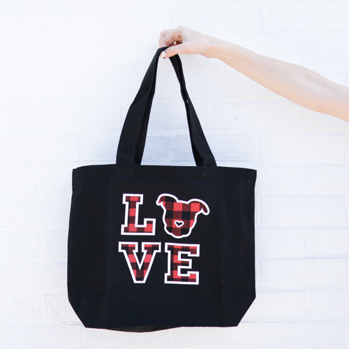 LOVE Canvas Tote // Buffalo Plaid