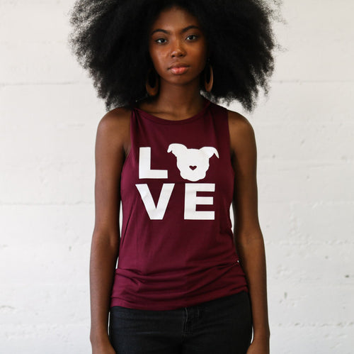 LOVE Muscle Tank // Cranberry