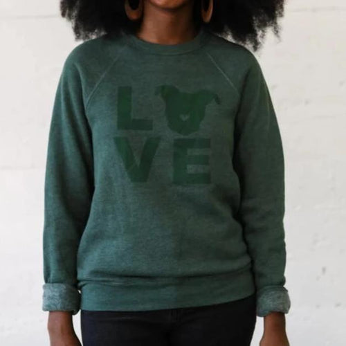 LOVE Sweatshirt // Hunter Green Tone on Tone