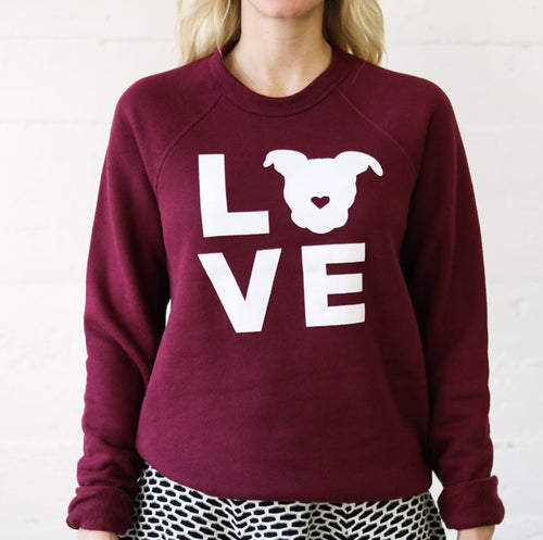 LOVE Sweatshirt // Cranberry White