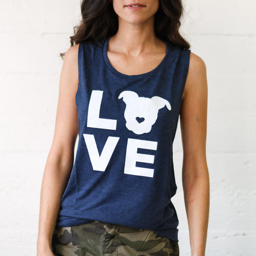 LOVE Muscle Tank // Navy