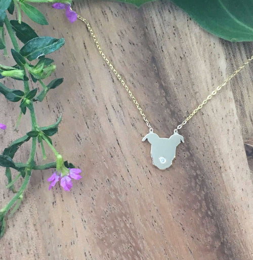 Diamond and 14k Gold Pittie Love Pendant