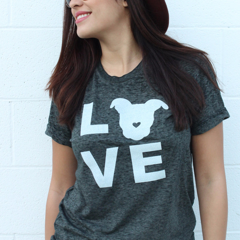 The Gentle Pit's LOVE T-shirt is perfect for proud pit bull moms.