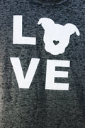 Detail of The Gentle Pit LOVE logo on tee shirt in Black Acid