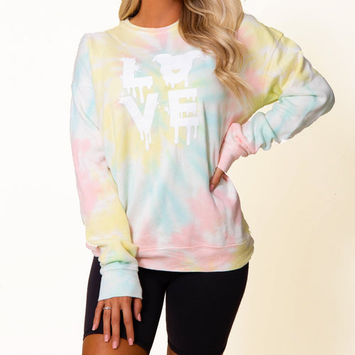 Drippy LOVE Sweatshirt // Pastel Tie Dye