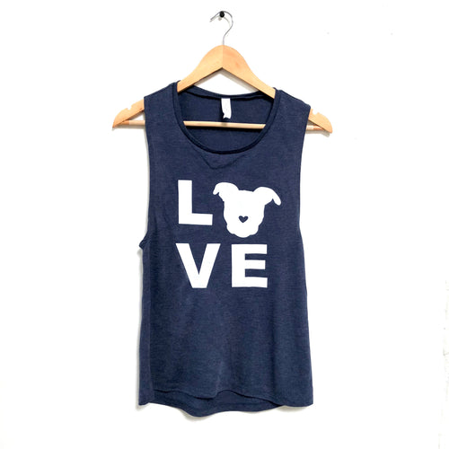 LOVE Muscle Tank - Navy | The Gentle Pit