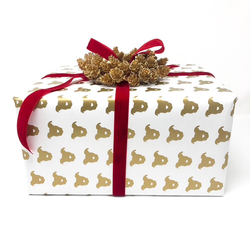 Gold Pittie Holiday Gift Wrap
