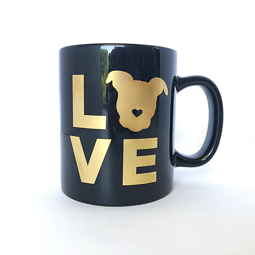 Pittie LOVE Mug - Black & Gold | The Gentle Pit