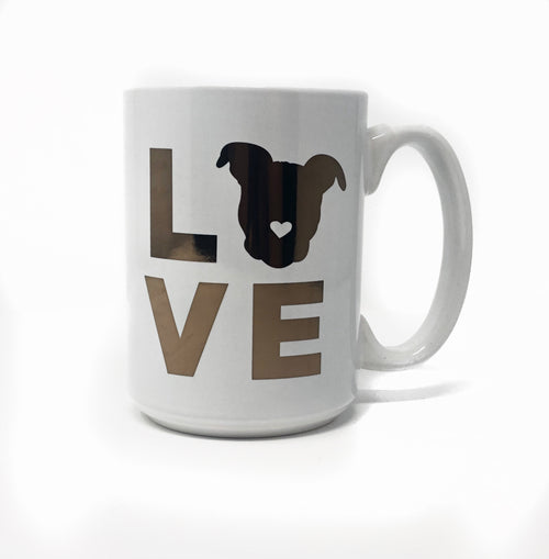 Pittie Love Mug // 16 oz White & Gold