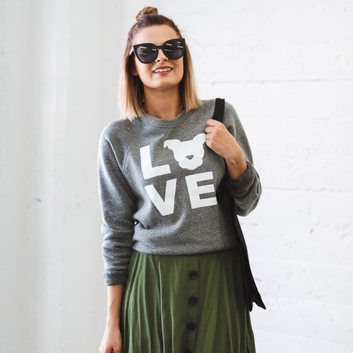 LOVE Sweatshirt // Grey Solid