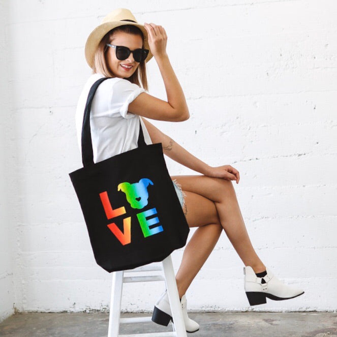 Rainbow LOVE Canvas Tote