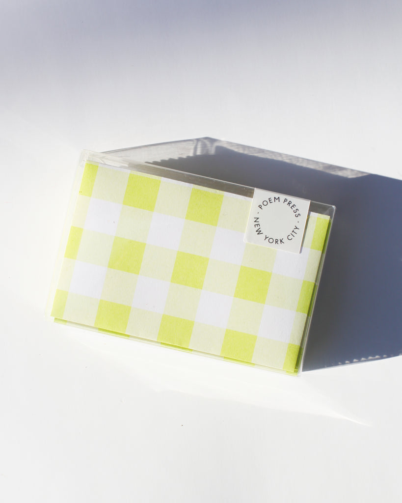 Lime Gingham Envelope Set