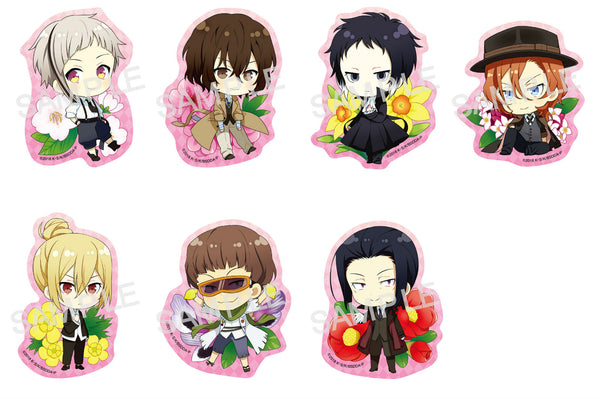 (1Box=7) Bungo Stray Dogs Clear Clip Badge Spring Flowers