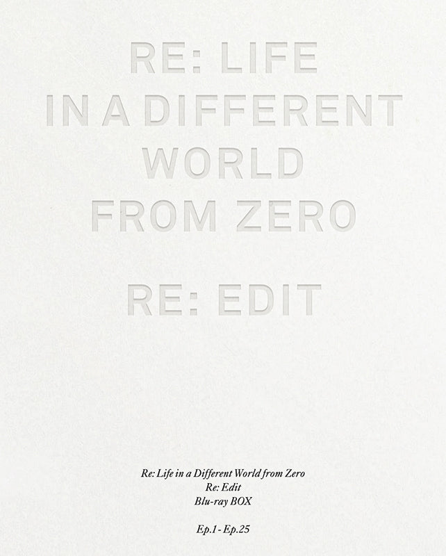 (Blu-ray) Re:Zero - Starting Life in Another World TV Series Re-Cut Edition Blu-ray BOX