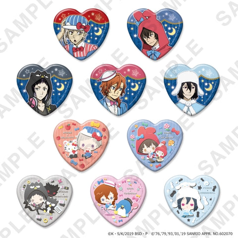 (1BOX=10) (Goods - Badge) Bungo Stray Dogs x Sanrio Characters Heart-shaped Button Badge
