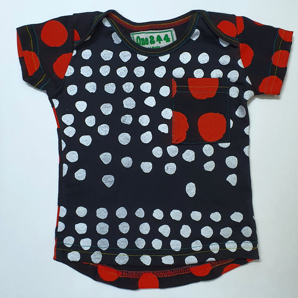 Envelope Neck Red & Black Spots Tee