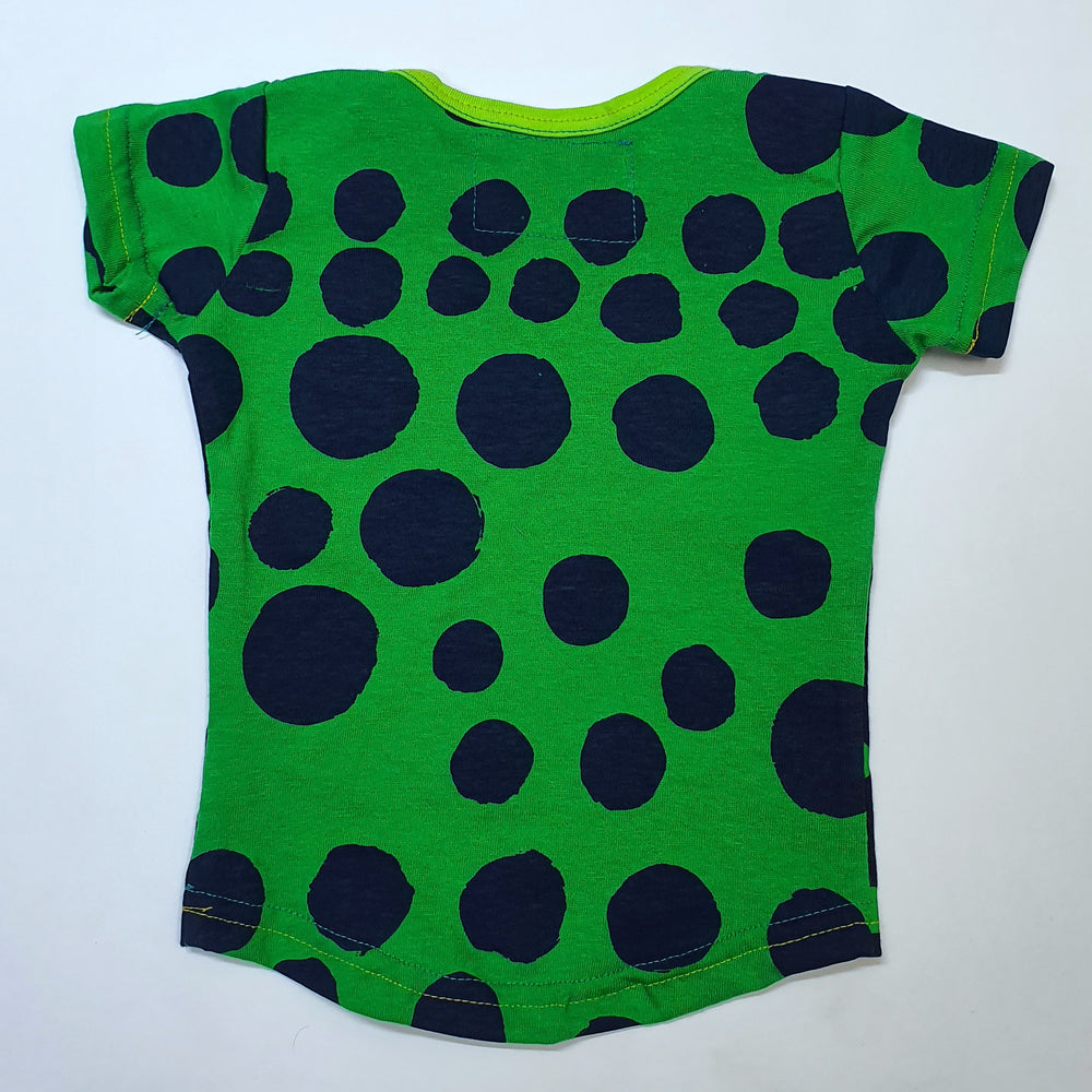 Envelope Neck Blue & Green Spots Tee
