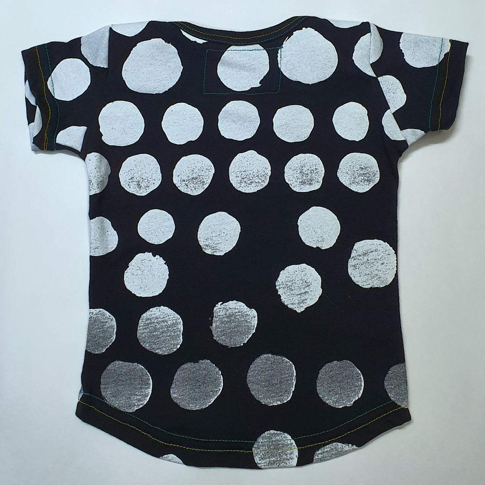 Envelope Neck Black & White Spots Tee