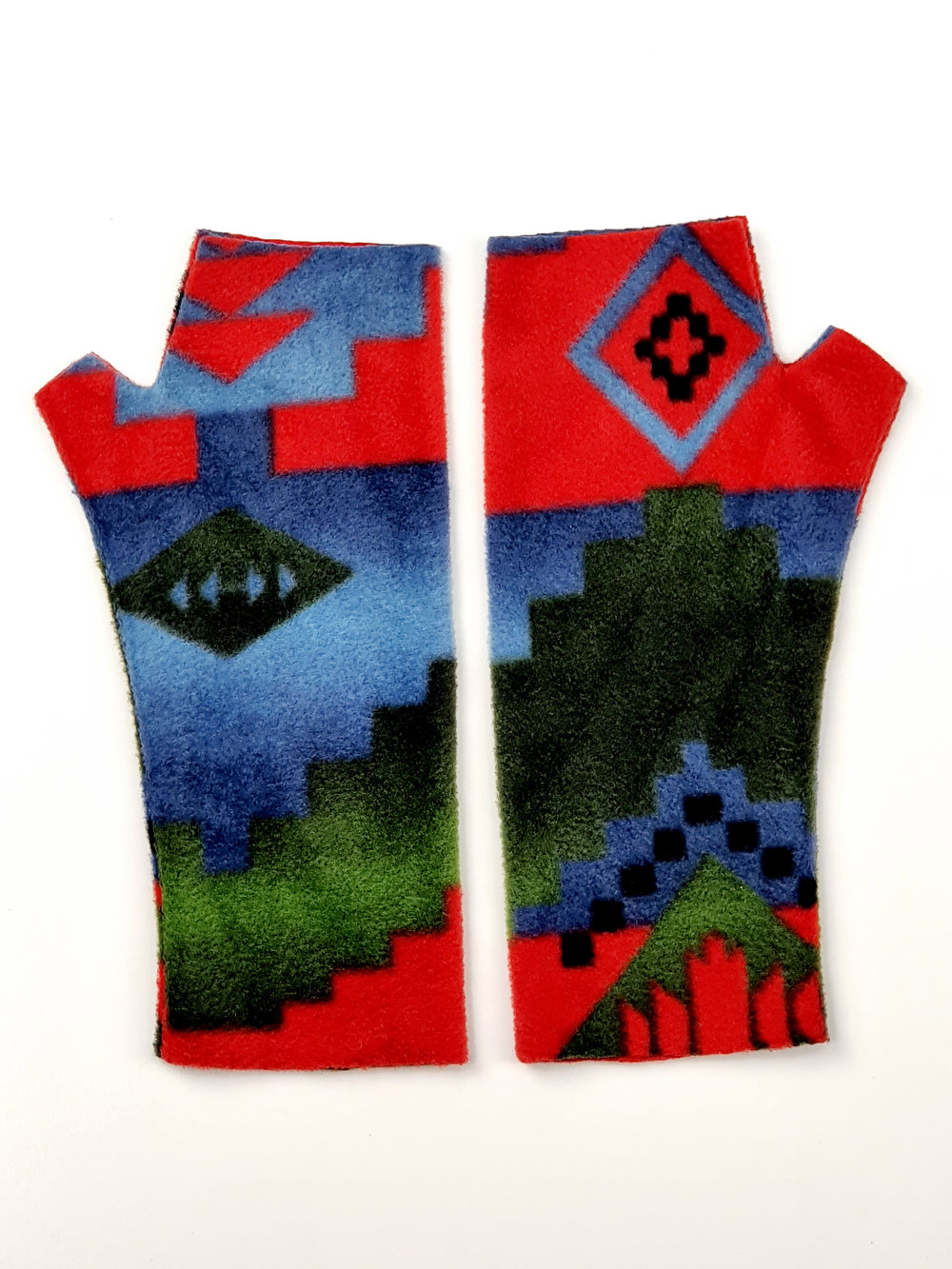 Red, blue and green fleece gloves