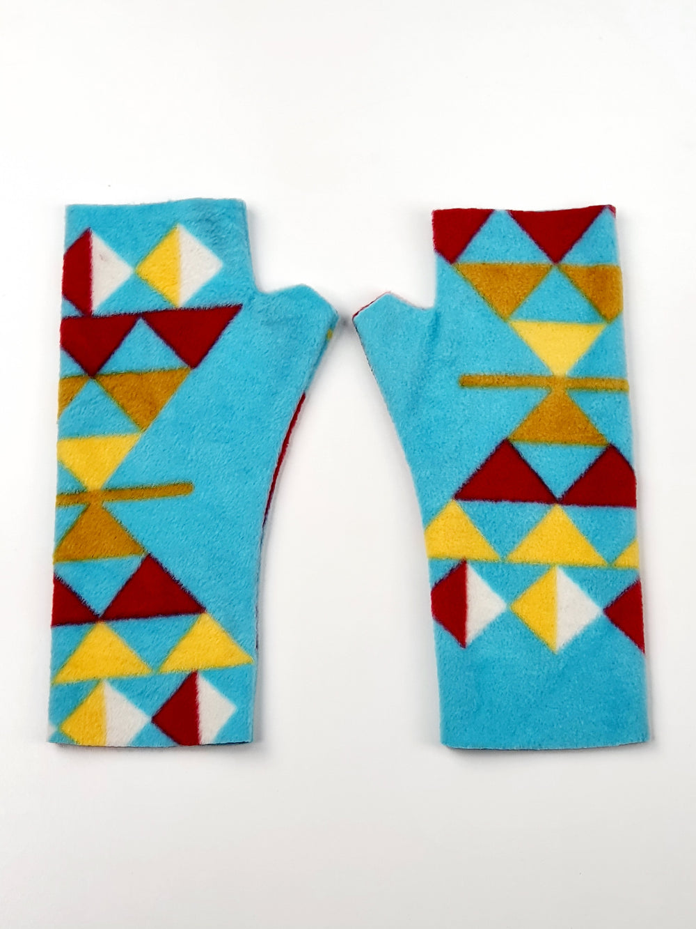 Blue yellow print fleece gloves