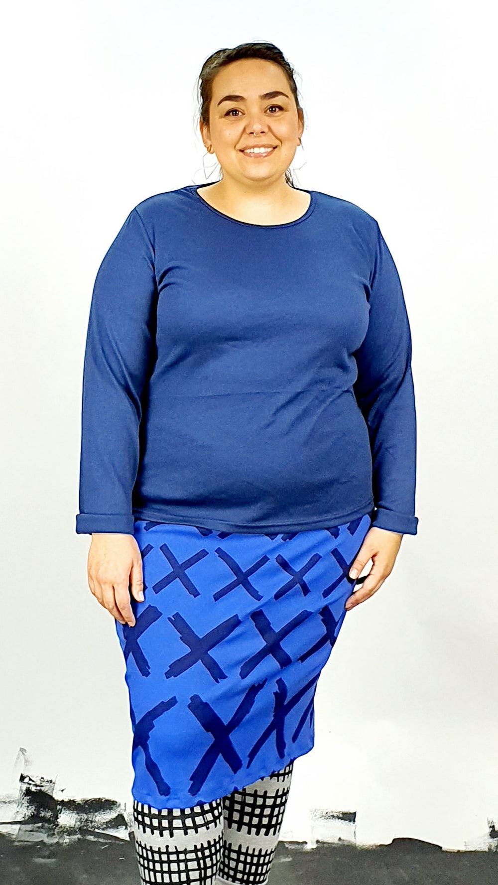 Blue On Blue Cotton Rib Pencil Skirt