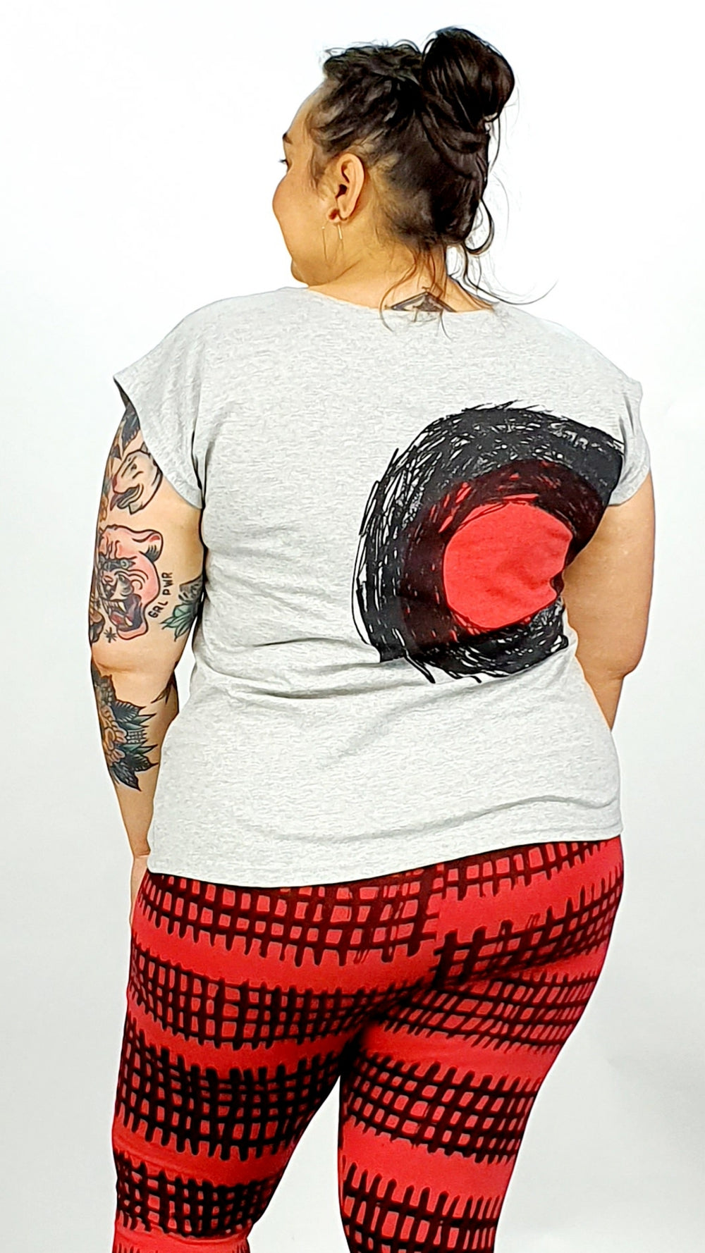 Boat Neck With Black & Red Circles On Grey Square Top