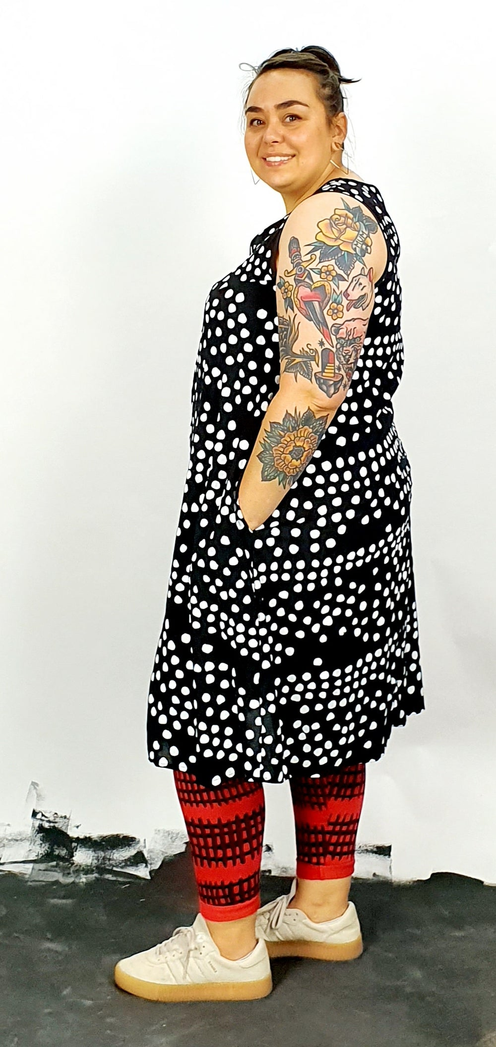 A'line dress with white spots, key hole at back and deep pockets