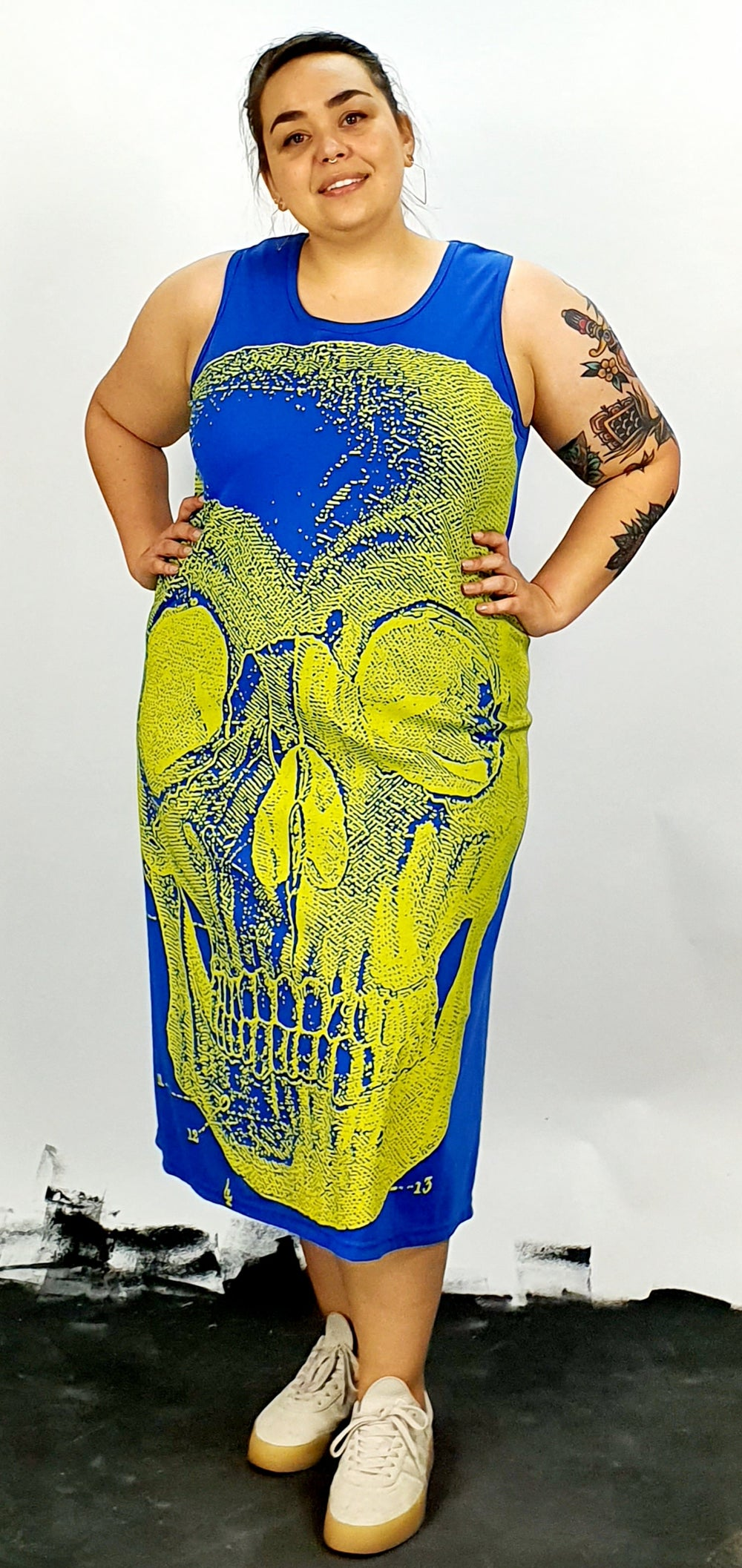 Yellow skull on blue sleeveless back seam A'line dress