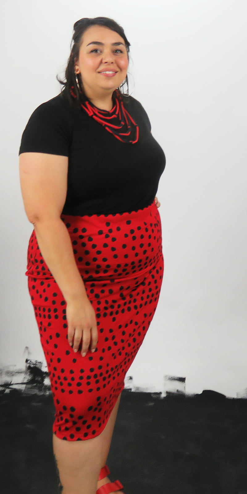 Little Black Spots On Red Ponte Pencil Skirt