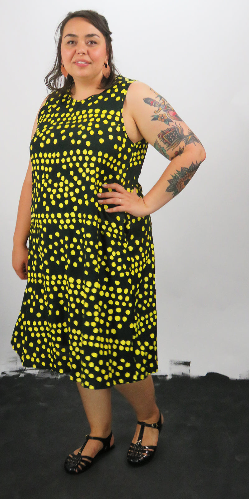 A'line dress with yellow spots, key hole at back and deep pockets