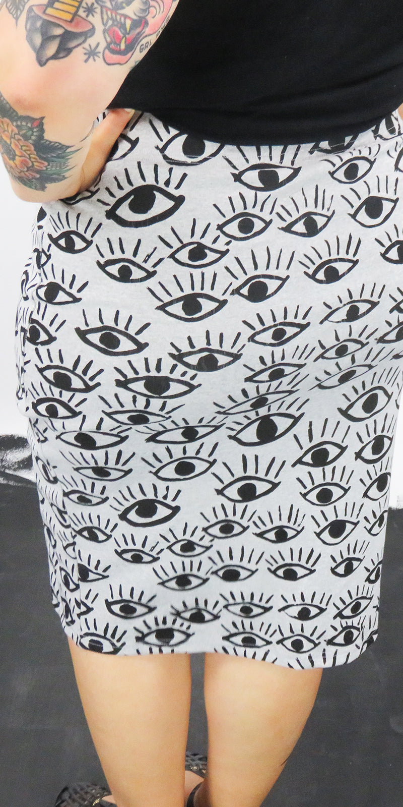 I Got My Eyes On You Black On Grey Cotton Rib Pencil Skirt
