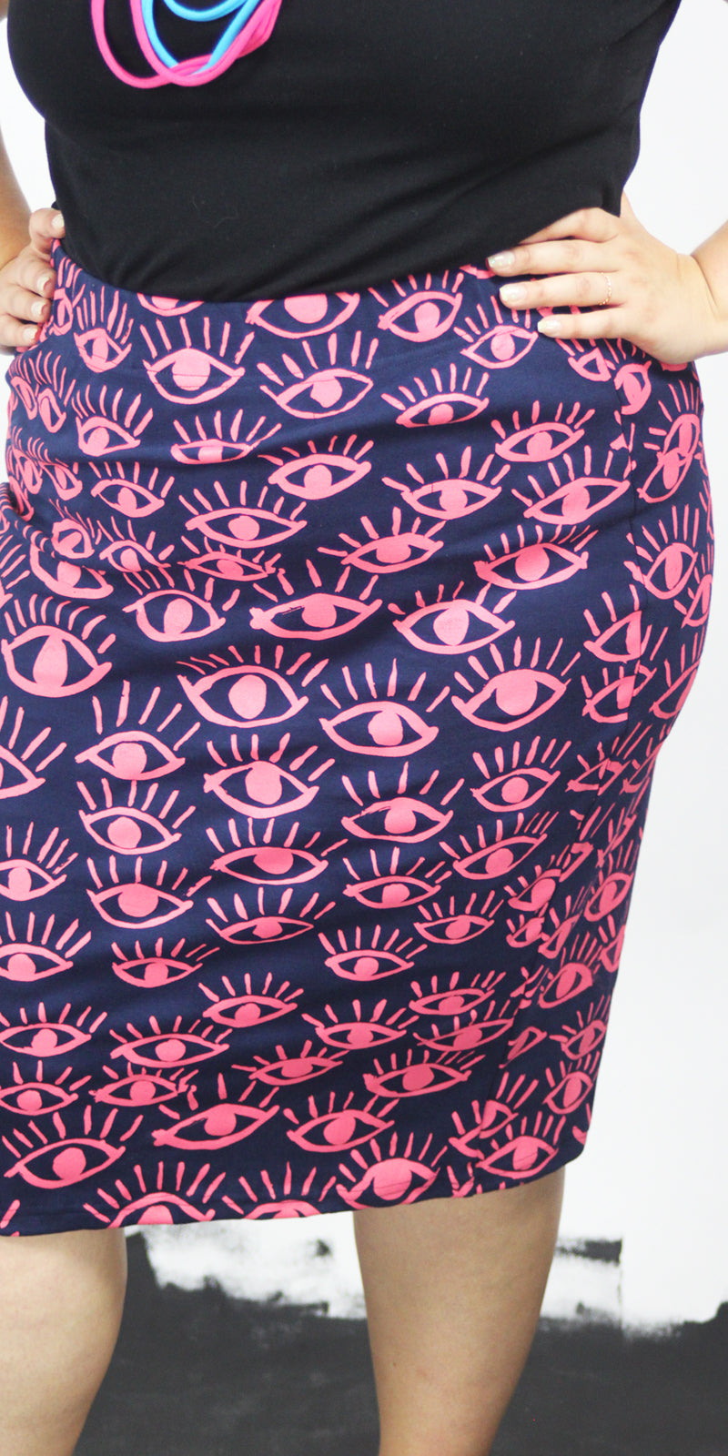 I Got My Eyes On You Pink On Navy Blue Cotton Rib Pencil Skirt