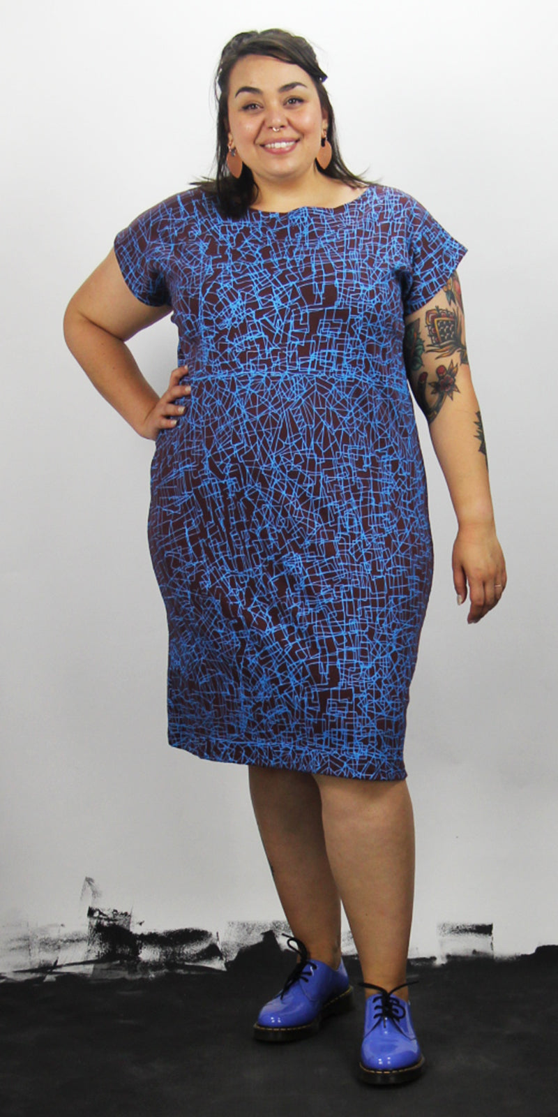 Brown Boat Neck Square Dress with Electric Blue Scribble Print