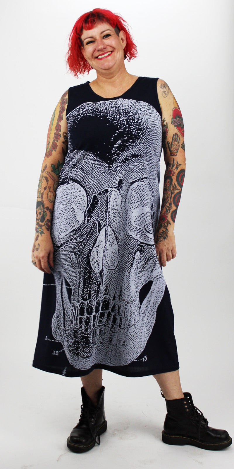 White Skull On Navy Blue Back Seam A'Line Dress