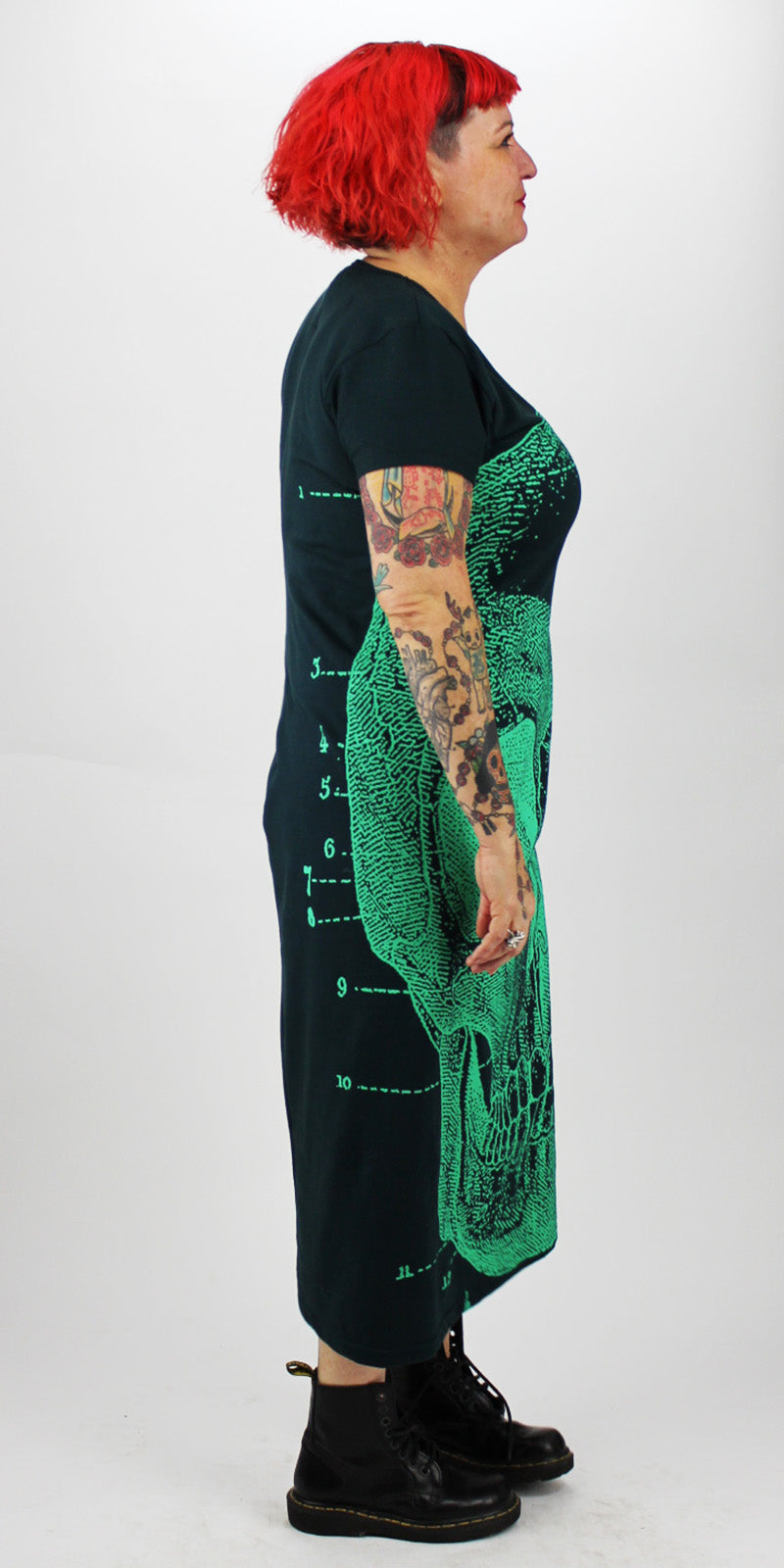 Green Skull On Dark Green Back Seam Short Sleeve Dress
