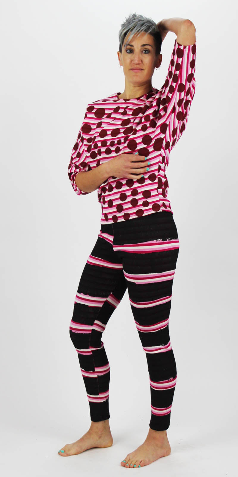 Black On Pink Thin Stripe Leggings