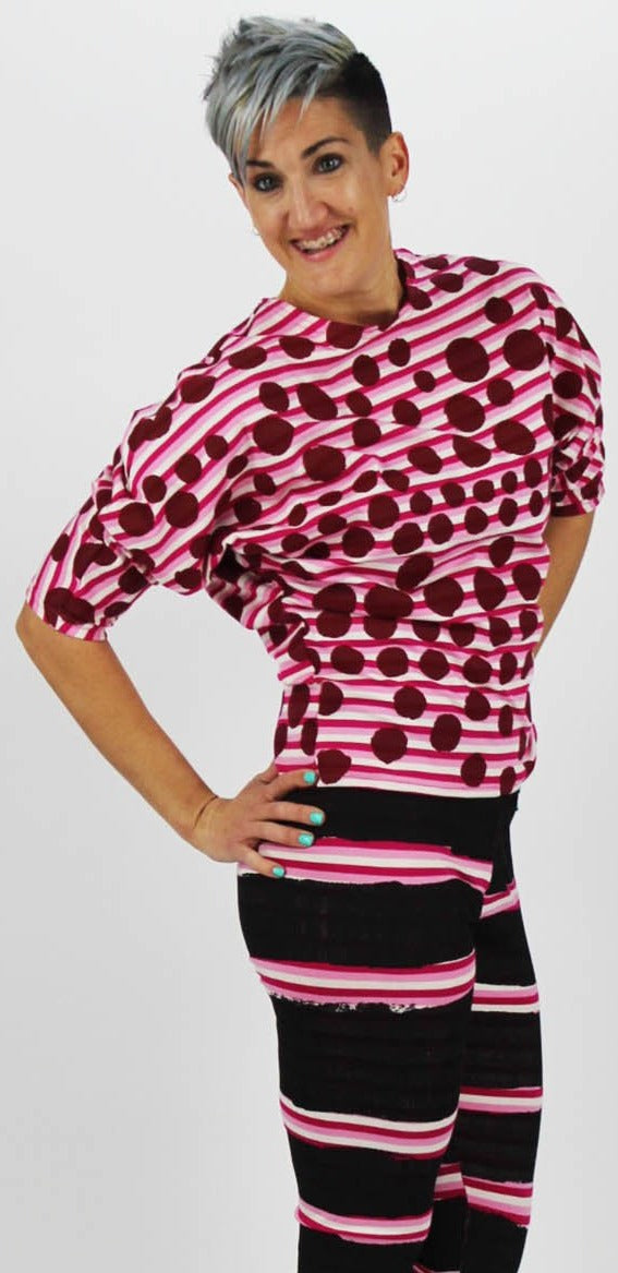 Boat Neck Magyar Sleeve stretch Top