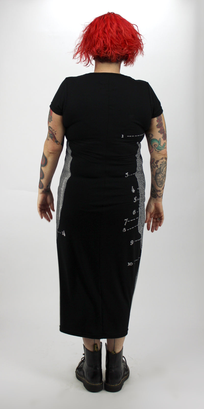 SALE-White Skull On Black Back Seam Short Sleeve Dress
