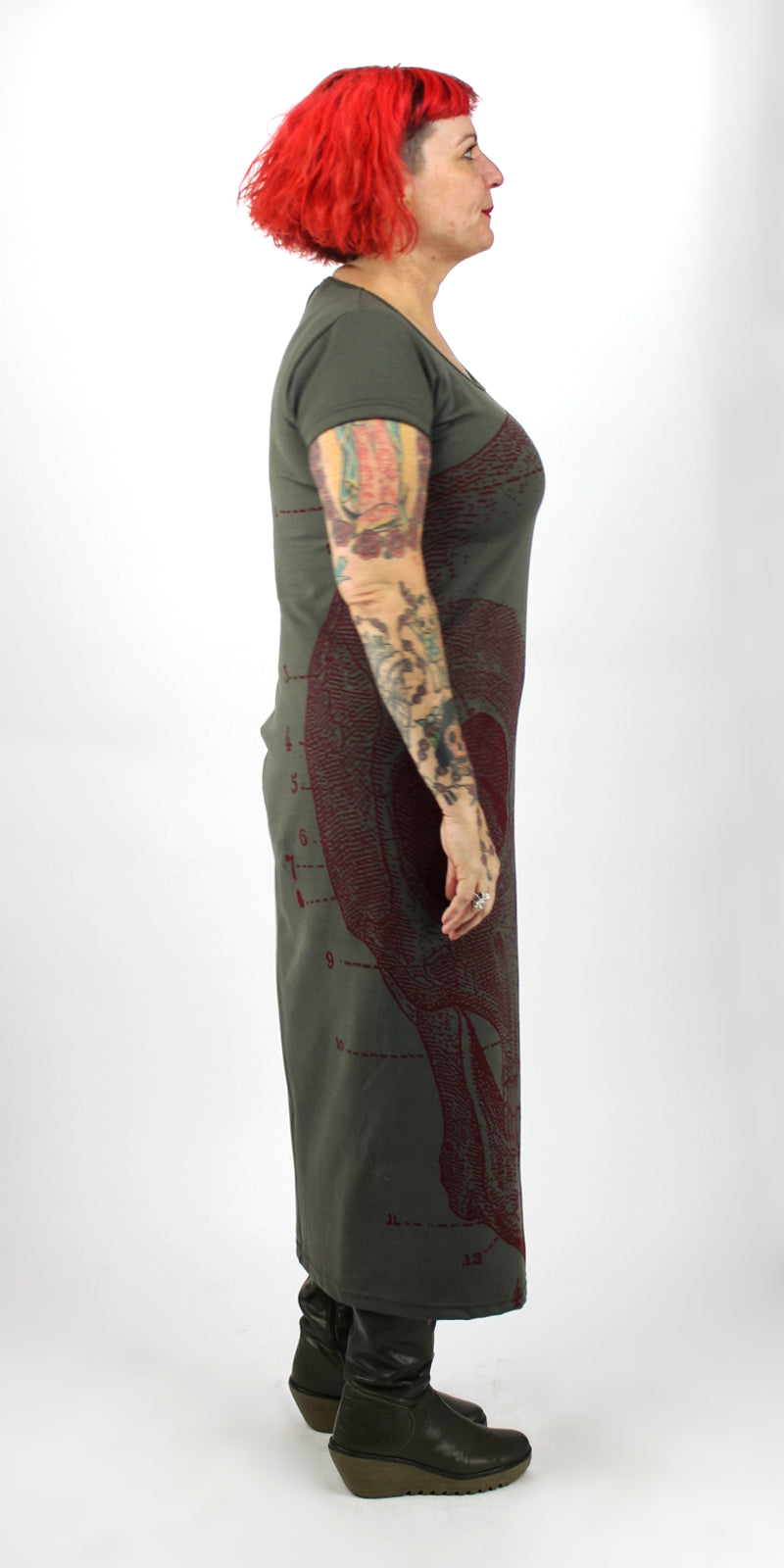 Red Skull On Grey Green Back Seam Short Sleeve Dress