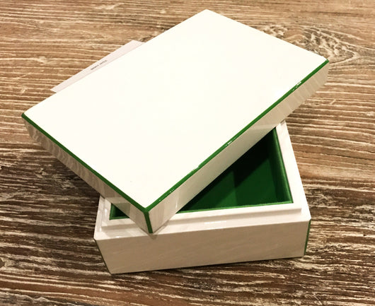 Lacquer Storage Box - White/Apple Green - Small