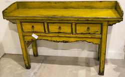 Antique Chartreuse Lacquer Farm Table