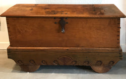 Antique Medua Teak Wedding Chest on Wheels