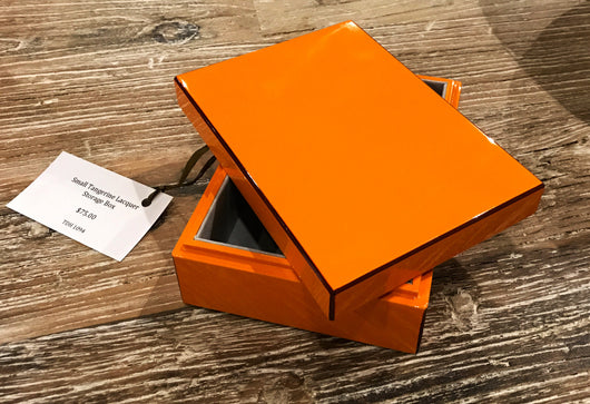 Lacquer Storage Box - Tangerine - Small